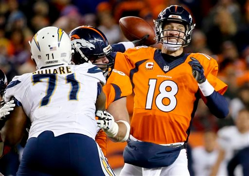 Denver Broncos quarterback Peyton Manning, right, passes against the San Diego Chargers during the second half in an NFL football game, Sunday, Jan. 3, 2016, in Denver. (AP Photo/Jack Dempsey)