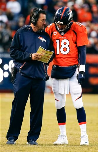 Denver Broncos quarterback Peyton Manning, right, talks with head coach Gary Kubiak during the second half in an NFL football game against the San Diego Chargers, Sunday, Jan. 3, 2016, in Denver. (AP Photo/Jack Dempsey)