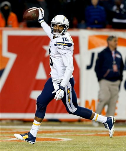 San Diego Chargers wide receiver Tyrell Williams celebrates after scoring during the second half in an NFL football game against the Denver Broncos, Sunday, Jan. 3, 2016, in Denver. (AP Photo/David Zalubowski)