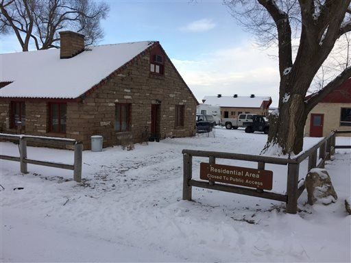 Buildings at the Malheur National Wildlife Refuge are seen near Burns, Ore., Sunday, Jan. 3, 2016. Protesters are occupying the refuge to object to a prison sentence for local ranchers for burning federal land. (AP Photo/Rebecca Boone)