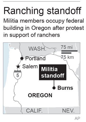 Map locates Burns, Oregon, where protestors occupied a national wildlife refuge building; 1c x 2 1/2 inches; 46.5 mm x 63 mm;
