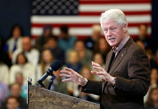 Former President Bill Clinton speaks during a campaign stop for his wife, Democratic presidential candidate Hillary Clinton, Monday, Jan. 4, 2016, in Nashua, N.H. (AP Photo/Jim Cole)