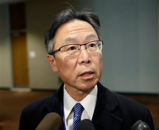 "Japanese Ambassador to the United Nations Motohide Yoshikawa arrives to a Security Council meeting at U.N. headquarters, Wednesday, Jan. 6, 2016. North Korea trumpeted its first hydrogen bomb test Wednesday, a powerful, self-proclaimed ""H-bomb of justice"""