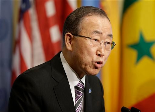 "United Nations Secretary-General Ban Ki-moon speaks to reporters before a Security Council meeting at U.N. headquarters, Wednesday, Jan. 6, 2016. North Korea trumpeted its first hydrogen bomb test Wednesday, a powerful, self-proclaimed ""H-bomb of justice"""
