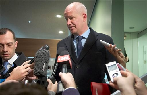 United Kingdom's Deputy U.N. Ambassador Peter Wilson address the press before attending a Security Council meeting on North Korea, Wednesday, Jan. 6, 2016 at U.N. headquarters. North Korea trumpeted its first hydrogen bomb test Wednesday, a powerful, self