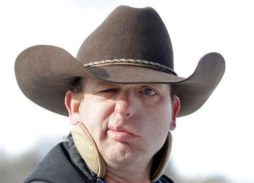 Ryan Bundy, one of the sons of Nevada rancher Cliven Bundy, speaks with a reporters following a news conference at Malheur National Wildlife Refuge on Wednesday, Jan. 6, 2016, near Burns, Ore. With the takeover entering its fourth day Wednesday, authoriti