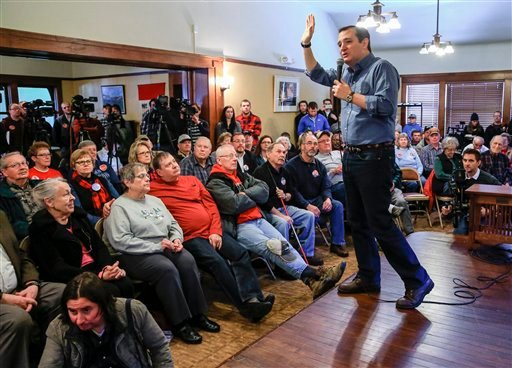 Republican Presidential candidate, Sen. Ted Cruz, R-Texas speaks during a campaign stop at the public library in Onawa, Iowa, Tuesday, Jan. 5, 2016. (AP Photo/Nati Harnik)