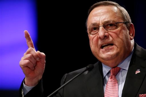 In this Jan. 7, 2015, file photo, Republican Gov. Paul LePage delivers his inauguration address in Augusta, Maine.