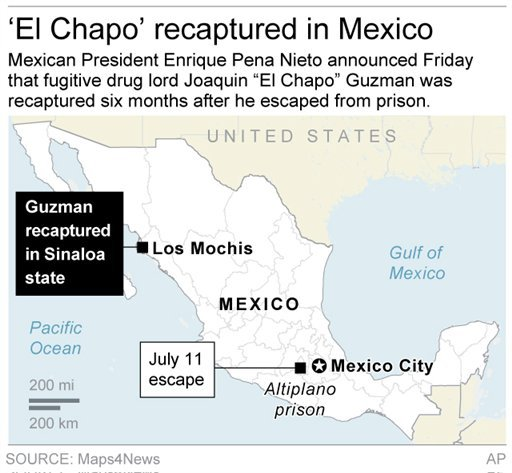 Map locates Los Mochis, Mexico, where drug lord Joaquin Guzman was recaptured.
