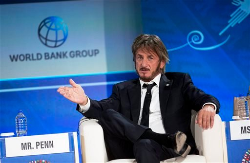 In this Oct. 8, 2015 file photo, Sean Penn speaks during a forum with young entrepreneurs during the IMF and World Bank annual meeting in Lima, Peru. Late Saturday, Jan. 9, 2016, Rolling Stone magazine published an interview that Guzman apparently gave to