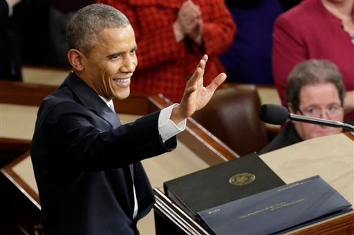 In this Jan. 20, 2015, file photo, President Barack Obama waves before giving his State of the Union address before a joint session of Congress on Capitol Hill in Washington. (AP Photo/Pablo Martinez Monsivais, File)