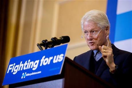 Former President Bill Clinton speaks during a campaign stop for his wife Democratic presidential candidate Hilary Clinton at Hotel Julien in Dubuque, Iowa, Thursday, Jan. 7, 2016. (AP Photo/Andrew Harnik)