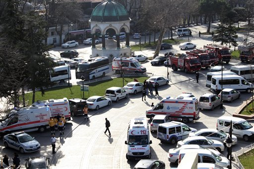 Ambulances and firefighters stationed near the city's landmark Sultan Ahmed Mosque or Blue Mosque after an explosion at Istanbul's historic Sultanahmet district, which is popular with tourists, Tuesday, Jan. 12, 2016.