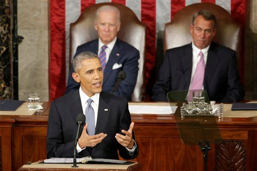 Jan. 20, 2015, file photo, President Barack Obama gives his State of the Union address before a joint session of Congress on Capitol Hill in Washington as Vice Presient Joe Biden and House Speaker John Boehner listen. (AP Photo/J. Scott Applewhite, File)