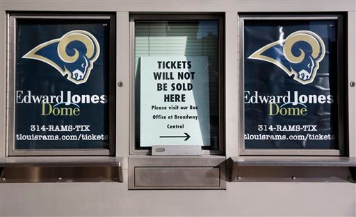 An unused ticket booth is shown outside the Edward Jones Dome, former home of the St. Louis Rams, Wednesday, Jan. 13, 2016, in St. Louis.