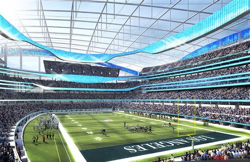 This undated rendering provided by HKS Sports & Entertainment shows a proposed NFL football stadium in Inglewood, Calif.