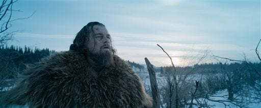 """This photo provided by courtesy of Twentieth Century Fox shows, Leonardo DiCaprio as Hugh Glass, in a scene from the film, """"The Revenant,"""" directed by Alejandro Gonzalez Inarritu."""