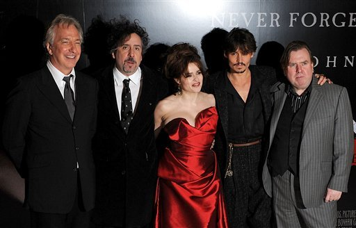 In this Jan. 10, 2008 file photo, from left to right, British actor Alan Rickman, British director Tim Burton, British actress Helena Bonham Carter, US actor Johnny Depp and British actor Timothy Spall pose for photographers.