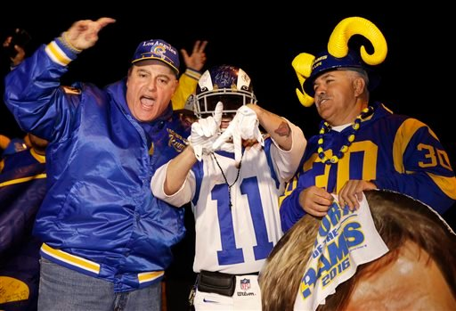 Football fans cheer for the return of the Rams NFL football team to the Los Angeles area, on the site of the old Hollywood Park horse-racing track in Inglewood, Calif., on Tuesday, Jan. 12, 2016.