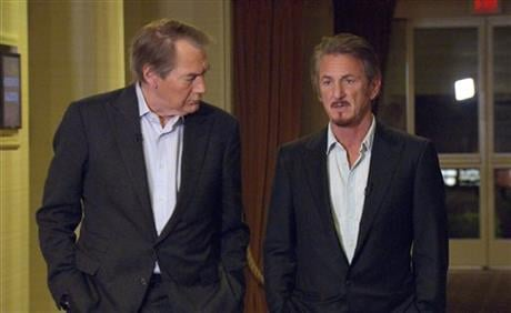 """Jan. 14, 2016 image released by CBS News/60 Minutes shows Charlie Rose with Sean Penn during an interview in Santa Monica, Calif., about Penn's meeting with Mexican drug lord Joaquin """"El Chapo"""" Guzman. (CBS News/60 Minutes via AP)"""