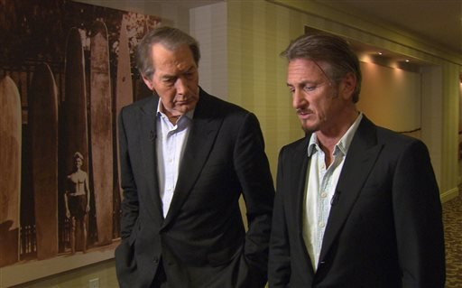 """This Jan. 14, 2016 image released by CBS News/60 Minutes shows Charlie Rose, left, with actor Sean Penn during an interview in Santa Monica, Calif., about Penn's meeting with Mexican drug lord Joaquin """"El Chapo"""" Guzman. The interview will air Sunday on """"6"""