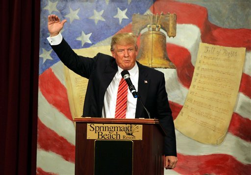 Republican presidential candidate Donald Trump speaks at the South Carolina Tea Party Convention, Saturday, Jan. 16, 2016, at the Springmaid Beach Resort in Myrtle Beach, S.C.