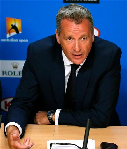 ATP chairman Chris Kermode speaks during a press conference at the Australian Open tennis championships in Melbourne, Australia, Monday, Jan. 18, 2016. Chairman Kermode and the Tennis Integrity United have rejected news reports that match-fixing has gone