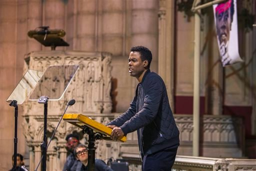 Monday, Jan. 18, 2016 photo, Comedian Chris Rock speaks during an event celebrating the life and legacy of the Rev. Martin Luther King Jr. at the Riverside Church in New York. (AP Photo/Andres Kudacki)