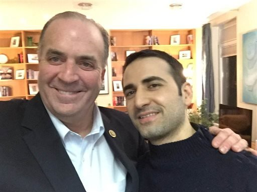 In a Monday, Jan. 18, 2016 photo provided by the Hekmati family, U.S. Rep. Dan Kildee, D-Flint Township, Mich., meets with former Iran prisoner Amir Hekmati at Landstuhl Regional Medical Center in Landstuhl, Germany. Hekmati was detained in August 2011 on