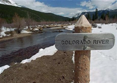 Snowpack in the mountains and valleys that feed the upper Colorado River is slightly above the long-term average, which is welcome news in the drought-stricken Southwest. (AP Photo/David Zalubowski)