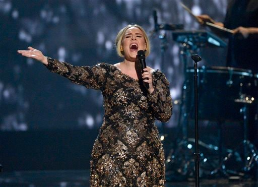 FILE - In this Nov. 17, 2015 image released by NBC, Adele performs at Radio City Music Hall in New York.
