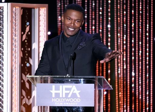 In this Nov. 1, 2015 file photo, Jamie Foxx presents the Hollywood actor award at the Hollywood Film Awards at the Beverly Hilton Hotel in Beverly Hills, Calif.