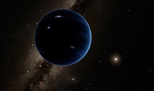 This artistic rendering provided by California Institute of Technology shows the distant view from Planet Nine back towards the sun. The planet is thought to be gaseous, similar to Uranus and Neptune. Hypothetical lightning lights up the night side. Scien