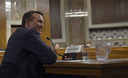 Army Secretary Eric Fanning, a close civilian adviser to Defense Secretary Ash Carter, testifies on Capitol Hill in Washington, Thursday, Jan. 21, 2016, before the Senate Armed Services Committee hearing on his nomination. (AP Photo/Susan Walsh)