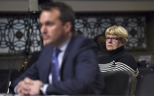 Cathy Fanning, mother of Army Secretary nominee Eric Fanning, listens as her son testifies on Capitol Hill in Washington, Thursday, Jan. 21, 2016, before the Senate Armed Services Committee hearing on on his nomination. (AP Photo/Susan Walsh)