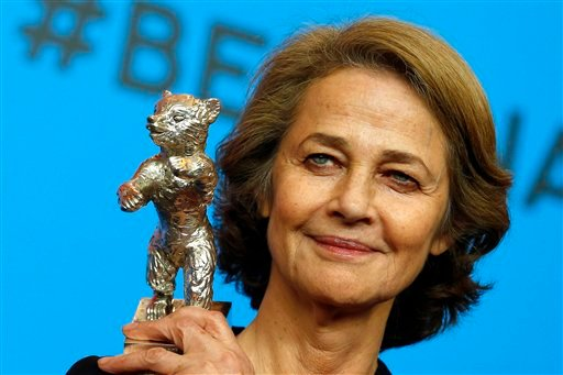 In this Saturday, Feb. 14, 2015 file photo, Charlotte Rampling holds the Silver Bear for Best Actress for her role in '45 years' after the award ceremony at the 2015 Berlinale Film Festival in Berlin, Germany.