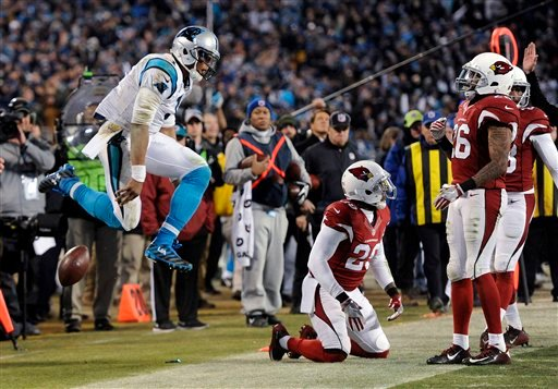 Carolina Panthers' Cam Newton celebrates a first down run during the second half the NFL football NFC Championship game against the Arizona Cardinals Sunday, Jan. 24, 2016, in Charlotte, N.C. (AP Photo/Mike McCarn)