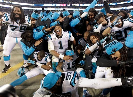 Some Carolina Panthers celebrate from the bench during the second half the NFL football NFC Championship game against the Arizona Cardinals, Sunday, Jan. 24, 2016, in Charlotte, N.C. (AP Photo/Chuck Burton)