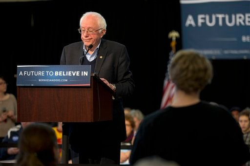 Democratic presidential candidate, Sen. Bernie Sanders, I-Vt. reacts while listening to a supporter at a campaign event, Monday, Jan. 25, 2016, in Iowa Falls, Iowa. (AP Photo/Jae C. Hong)