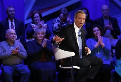 Democratic presidential candidate, former Maryland Gov. Martin O'Malley speaks during a CNN town hall at Drake University in Des Moines, Iowa, Monday, Jan. 25, 2016. (AP Photo/Patrick Semansky)
