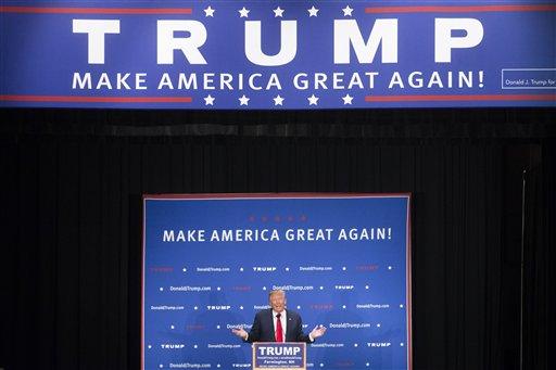 Republican presidential candidate Donald Trump speaks during a campaign stop at Farmington High School, Monday, Jan. 25, 2016, in Farmington, N.H. (AP Photo/John Minchillo)