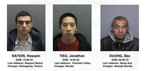 This image provided by the Orange County, Calif., Sheriff's Department on Saturday, Jan. 23, 2016, shows three jail inmates charged with violent crimes who escaped from the Central Men's Jail in Santa Ana, Calif. The men from left are, 37-year-old Hossein