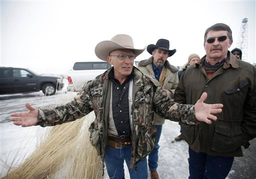 In this Jan. 9, 2016 file photo, LaVoy Finicum, a rancher from Arizona, speaks to the media after members of an armed group along with several other organizations arrive at the at the Malheur National Wildlife Refuge near Burns, Ore. The FBI and Oregon St