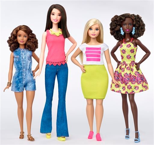 This photo provided by Mattel shows a group of new Barbie dolls introduced in January 2016. Mattel, the maker of the famous plastic doll, said it will start selling Barbie's in three new body types: tall, curvy and petite. She'll also come in seven skin t