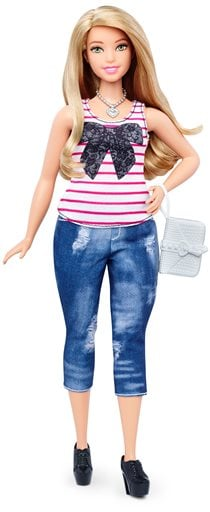 This photo provided by Mattel shows a new, curvy Barbie Fashionista doll introduced in January 2016. Mattel, the maker of the famous plastic doll, said it will start selling Barbie's in three new body types: tall, curvy and petite. She'll also come in sev