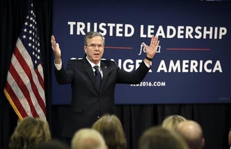 Republican presidential candidate former Florida Gov. Jeb Bush speaks during a meeting with employees at Nationwide Insurance, Wednesday, Jan. 27, 2016, in Des Moines, Iowa. (AP Photo/Charlie Neibergall)