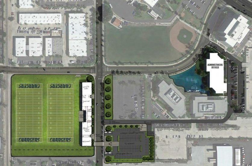 A graphic of the proposed training sites and headquarters in Santa Ana, courtesy of the Chargers
