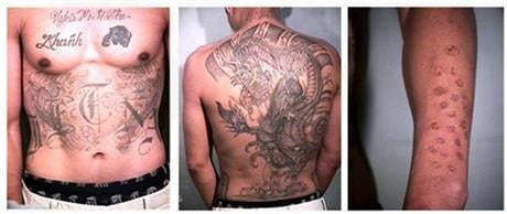 This undated combo photo provided by the Orange County Sheriff's Office shows tattoos and other markings on the body Bac Duong, one of three inmates who escaped. AP