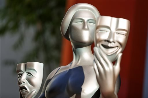 FILE - In a Tuesday, Jan 26, 2016 file photo, a Screen Actors Guild Awards statue for the 22nd Annual Screen Actors Guild Awards is displayed at the TCL Chinese Theatre, in Los Angeles.