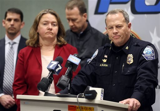 Montgomery County Commonwealth's Attorney Mary Pettitt, left, and Blacksburg Police Chief Anthony Wilson listen to questions during a news conference Saturday, Jan. 30, 2016, in Blacksburg Va. Virginia Tech student, David Eisenhauer, has been charged with